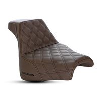 Saddlemen SAD-818-28-172BR Step-Up Lattice Stitch Dual Seat Brown w/Black Double Diamond Lattice Stitch for FXFB 18up