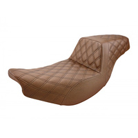 Saddlemen SAD-I14-07-175BR Brown Step-Up LS Dual Seat w/Black Double Diamond Lattice Stitch for Indian Touring 14-Up