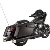 S&S Cycle SS-550-0626 MK45 Slip-On Mufflers Ceramic Black w/Chrome Tracer End Caps for Harley-Davidson Touring 95-'16 Models