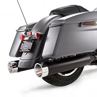 S&S Cycle SS-550-0671 MK45 Slip-On Mufflers Ceramic Black w/Chrome Tracer End Caps for Harley-Davidson Touring 17-Up Models