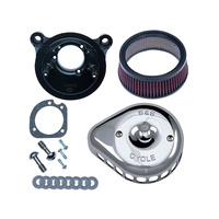 S&S Cycle SS170-0441 Mini Teardrop Air Cleaner Kit Chrome for T/Cam'99-17 (exc FLH'08up w/TBW)