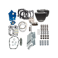 """S&S Cycle SS310-1103A Big Bore Kits Black w/Highlighted Fins for 128"""" M8 17-19 4.500"""" Oil Cooled & Chain Drive"""