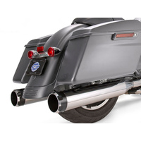 """S&S Cycle SS550-0664 Mk45 4.5"""" Slip-On Mufflers Chrome w/Black Thruster End Caps for Touring 17-Up"""