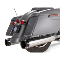 """S&S Cycle SS550-0668 Mk45 4.5"""" Slip-On Mufflers Chrome w/Black Tracer End Caps for Touring 17-Up"""