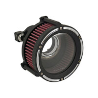 Trask Performance TP-TM-1021RC Assault Clear Air Cleaner Kit Reverse Cut Black for Twin Cam 99-17 w/CV Carb or Cable Operated Delphi EFI