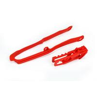 UFO Chain Guide & Swingarm Chain Slider Kit Red (00-18) for Honda CRF250R-RX 18-20/450R-RX 17-20