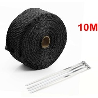 """Exhaust Wrap Black Heat Wrap 2"""" Wide x 30Ft (10m) Roll with 4 Locking Ties Universal Use"""