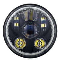 Headlight 45w LED Daymarker Style D-Halo-Parker Black Face Suit Most H-D, Street 500 & Indian Scout Models + Some Triumph Models + Ext Warranty