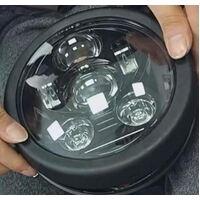 "Bobber Style Headlight 5.75"" Housing Bracket Black With 45w Daymarker Style Black Face - Universal Use"