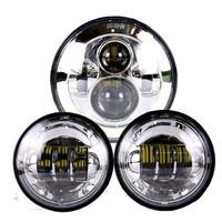 Headlight LED 80w Daymarker Chrome Face Kit Suit Softail Heritage & Fatboy Fl & Touring Flt, Indian & Triumph Models + Ext Warranty