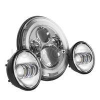 Headlight LED 80w Halo Daymarker Chrome Face Kit Suit Softail Heritage & Fatboy Fl & Touring Flt, Indian & Triumph Models + Ext Warranty