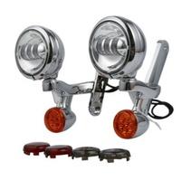 Auxiliary Turn Signal & LED Spot Light Bracket Kit Flhx & Touring Models Chrome Shell & Chrome Lamps