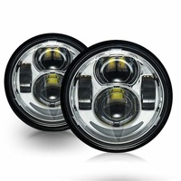 """Headlight Led Daymaker Insert Set 4.65"""" Dyna Fatbob 08-17 Chrome, Both lights operate simultaneously for both high & low Suit Harley +Ext Warranty"""