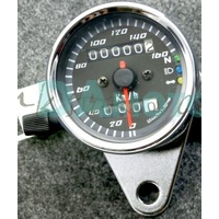 Speedo Mini Chrome w/Black Face with T/Signal Neutral Universal Use Fits all Motorcycles Bobbers Customs