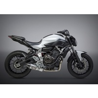 Yoshimura Race Series R-77 Stainless Full Exhaust System w/Stainless Sleeve/Carbon End Cap for Yamaha FZ/MT-07/XSR700 15-20
