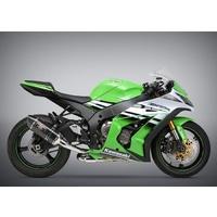 Yoshimura Race Series R-77 Stainless 3/4 Slip-On Muffler w/Carbon Sleeve/Carbon End Cap for Kawasaki Ninja ZX-10R 11-15