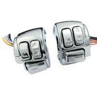 Zodiac Z371013 Switch Housing Kit Chrome Blocks w/BLACK Switches & Wiring Softail 06-10 & Dyna 06-11- CC1I